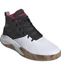 tenis basketball adidas own the game - blanco-negro