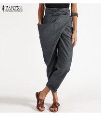 zanzea cremallera de las mujeres de la correa harem pantalón casual de las señoras tamaño holgados pantalones irregular plus -gris