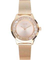 orologio da polso solo tempo 3h in acciaio e cristalli con cinturino in maglia gold rose per donna