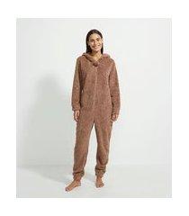 pijama macacão em fleece com capuz estampa esquilo | lov | marrom | g