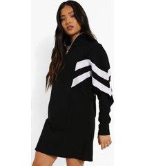 petite colour block sweatshirt jurk met korte rits, black