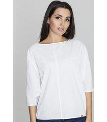 bluzka luźna z półdługim rękawem biała