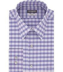 van heusen flex collar blue velvet plaid regular fit dress shirt