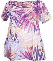 blusa confidencial alongada estampada plus size feminina