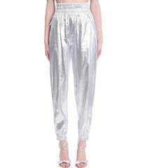 isabel marant galoni pants in silver synthetic fibers