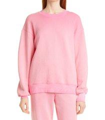women's cotton citizen brooklyn oversize crew sweatshirt, size small - pink
