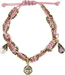 alexander mcqueen rope charm bracelet - pink