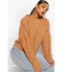 plus tassel cable chunky sweater, tan
