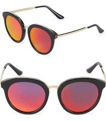 aqs women's mirrored 54mm oval sunglasses - black gold