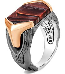 'asli classic chain' red tiger iron sterling silver bronze signet ring