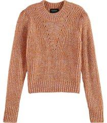 maison scotch loose fit crewneck pullover orange melange