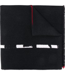 alexander mcqueen intarsia-knit graffiti-logo scarf - black