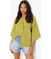 petite linnen look resort blouse, green
