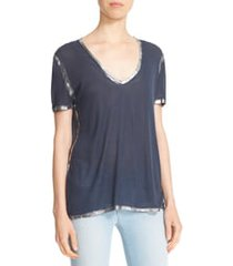 women's zadig & voltaire 'tino' foil accent tee, size large - blue