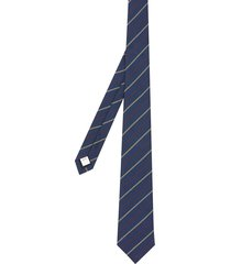 burberry stripe-pattern pointed-tip tie - blue