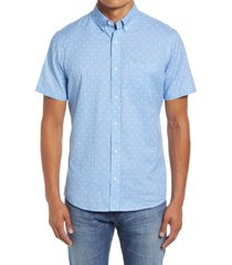 nordstrom trim fit dot short sleeve cotton & linen button-down shirt, size x-large in blue floating matter print at nordstrom