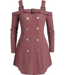 plus size open shoulder button square collar sweater