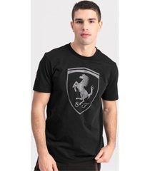 ferrari big shield t-shirt voor heren, zwart/aucun, maat xs   puma