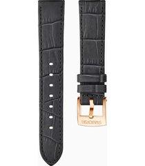 cinturino per orologio 18mm, grigio scuro, placcato color oro rosa