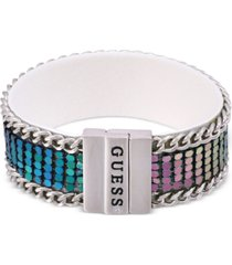 guess silver-tone & colored-finish mesh faux leather magnetic wrap bracelet