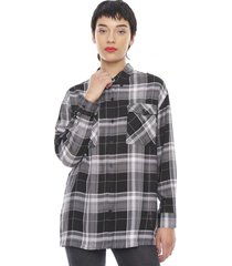blusa manga larga escocesa negro checks  corona