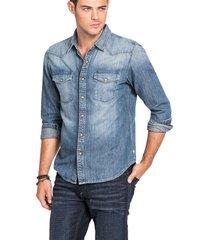 camisa es ls slim western denim shirt azul guess