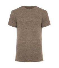 t-shirt masculina eco ribbed night hem - marrom