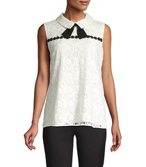 contrast lace collar blouse