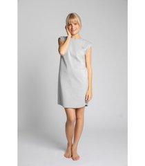 korte jurk lalupa la033 geribd katoenen loungewear jurk - lichtgrijs