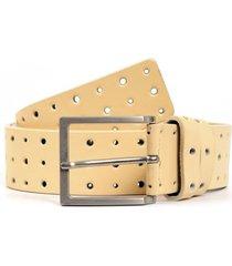 cinturon cuero perforado beige mailea
