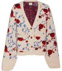 carlet jacquard cahmere floral cardigan