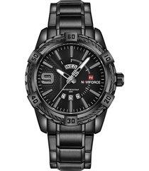 gli uomini di vita di affari guardano gli orologi di acciaio pieno del quarzo del calendario impermeabile dell'orologio per gli uomini