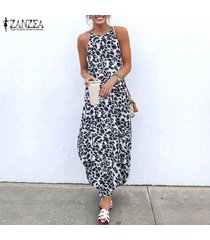 zanzea de vacaciones para mujer leopardo sin mangas vestido de la playa kaftan vestidos largos de las señoras -gris