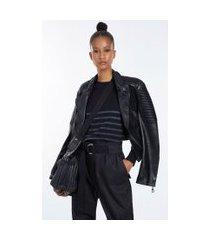 blusa de malha preta com decote redondo manga longa e listras texturizadas preto