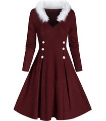faux fur panel ribbed sweater dress