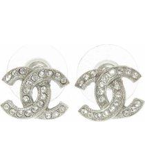chanel cc rhinestone earrings silver sz: