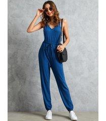 yoins cintura con cordón entrecruzado azul mono