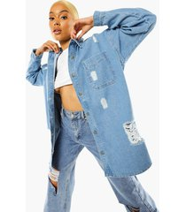 oversized versleten spijkerblouse, light blue