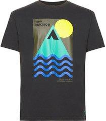 athletics trail revel t-shirt t-shirts short-sleeved svart new balance