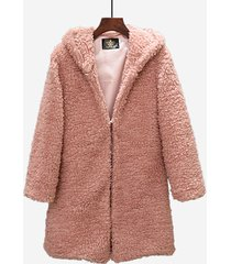 cappotto in peluche con cappuccio casual in tinta unita per le donne