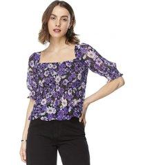 blusa panal manga globo morado flores mujer corona