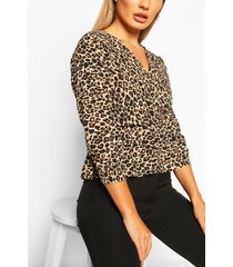 leopard print wrap peplum blouse, brown