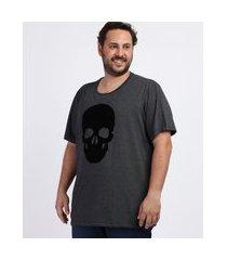 camiseta masculina plus size caveira manga curta gola careca cinza mescla escuro