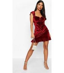petite velvet ruffle hem mini dress, wine