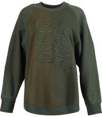 asymmetric anagram sweatshirt, forest and dark green