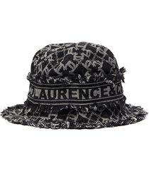 monogram print small brim denim hat