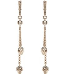 alexander mcqueen skull crystals long earrings