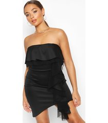 bandeau ruffle detail bodycon mini dress, black