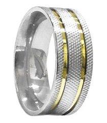 aliança de aço c/ filete de ouro (unidade)-12
