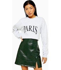gray paris embroidered sweatshirt - grey marl